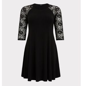 Torrid 1X Black Lace Jersey Trapeze Dress NWT